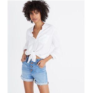 Madewell High Rise Denim Shorts Button Front Sz 25